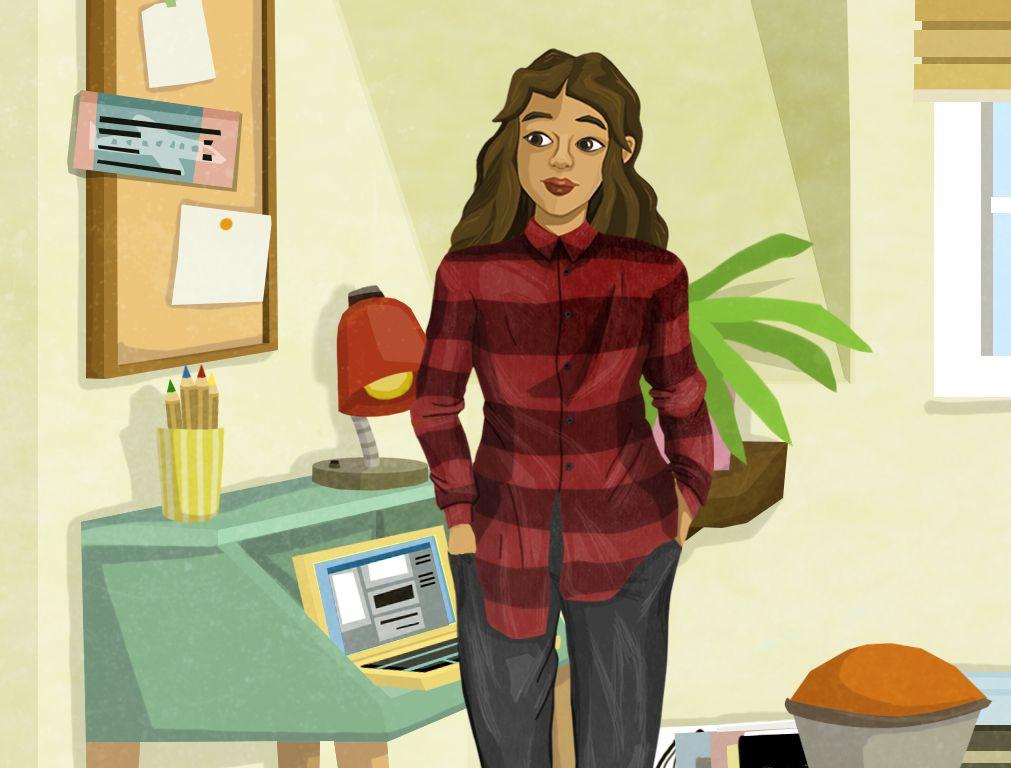 Avatarin in ihrem Zimmer - von hier startet die Reise