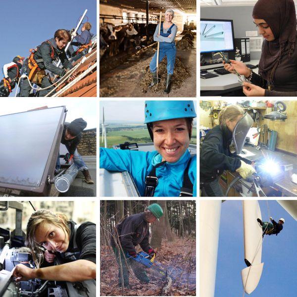 Fotokacheln mit Arbeitssituationen in Erneuerbaren Energien