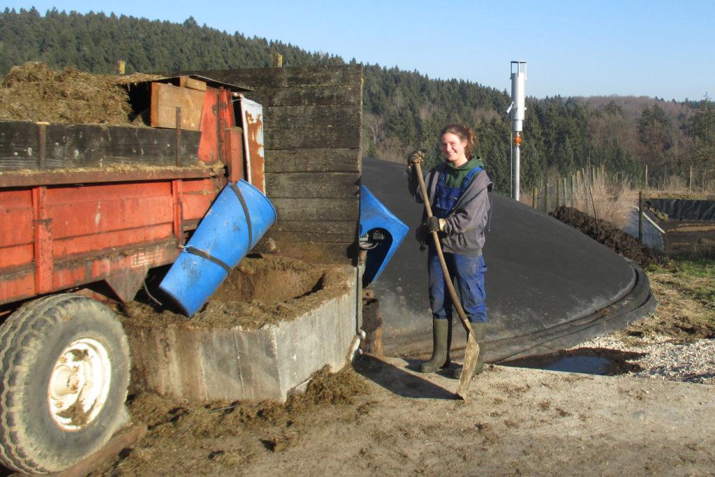 Arbeiten an der Biogasanlage