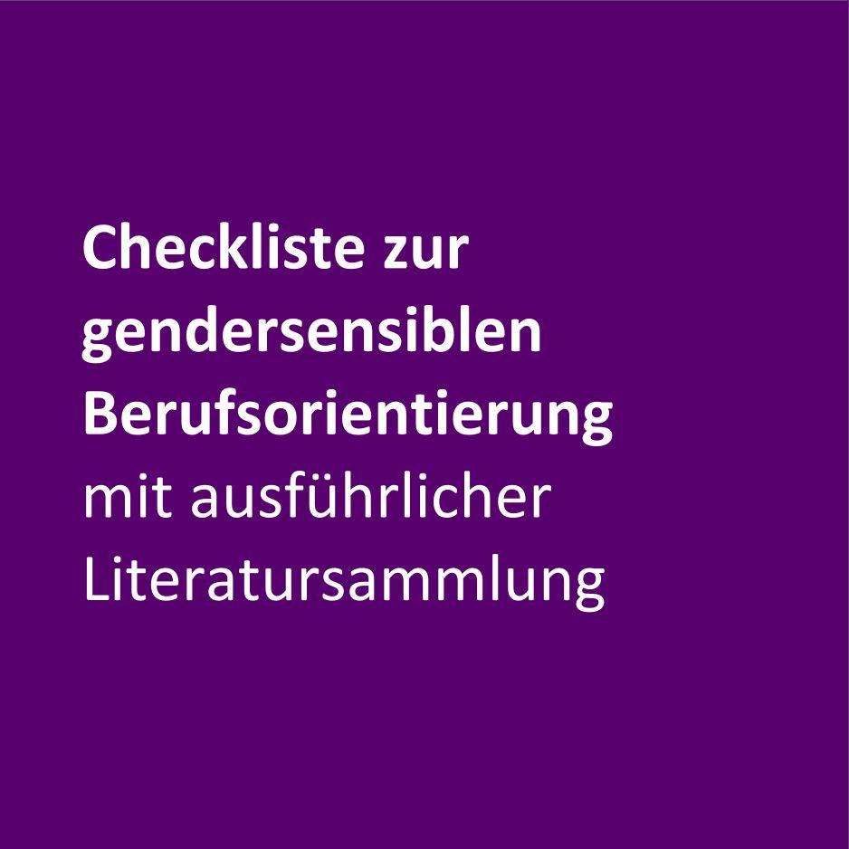 Checkliste zur gendersensiblen Berufsorientierung